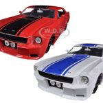 1965 Ford Mustang Red & White Set of 2 Cars 1/24 Diecast Car Models by Jada