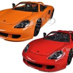 2005 Porsche Carrera GT Orange & Red 2 Cars Set 1/24 Diecast Car Models by Jada