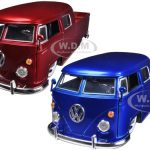 1963 Volkswagen Bus Pickup Trucks Red & Blue Set 1/24 Diecast Truck Models by Jada