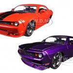 2008 Dodge Challenger SRT8 Orange & Purple Set of 2 Cars 1/24 Diecast Model Cars by Jada