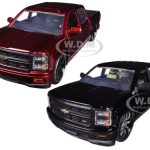 2014 Chevrolet Silverado Custom Edition Pickup Truck Black & Red 2 Trucks Set 1/24 Diecast Models by Jada