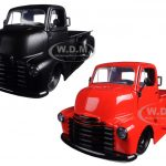1952 Chevrolet COE Pickup Truck Matt Black & Red 2 Trucks Set 1/24 Diecast Models by Jada