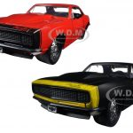 1967 Chevrolet Camaro Matt Black & Red  2 Cars Set 1/24 Diecast Model Cars by Jada