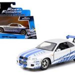 Brians Nissan Skyline GT-R R34 Silver Fast & Furious Movie 1/32 Diecast Model Car by Jada