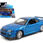 Brians Nissan Skyline GT-R R34 Blue Fast & Furious Movie 1/32 Diecast Car Model by Jada