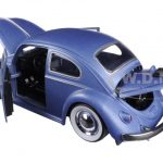 1959 Volkswagen Beetle Satin Metallic Matt Blue with Baby Moon Wheels 1/24 Diecast Model Car by Jada