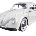 1959 Volkswagen Beetle Matt White with Baby Moon Wheels 1/24 Diecast Model Car by Jada