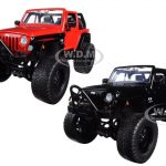2007 Jeep Wrangler Black and Red Off Road Set of 2 1/24 Diecast Model Car by Jada