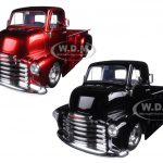 1952 Chevrolet COE Pickup Truck Black & Red with Chrome Wheels 2 Trucks Set 1/24 Diecast Models by Jada