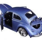 1959 Volkswagen Beetle Satin Metallic Blue with 5 Spoke Wheels 1/24 Diecast Model Car by Jada