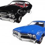 1970 Chevrolet Chevelle SS Blue & Black 2 Cars Set 1/24 Diecast Model Cars  by Jada