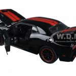 2015 Dodge Challenger SRT Hellcat Black with Red Stripes 1/24 Diecast Model Car by Jada