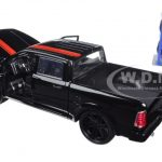 2014 Dodge Ram 1500 Pickup Truck Black with Red Stripe Just Trucks with Extra Wheels 1/24 Diecast Model Car by Jada
