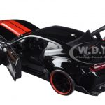 2016 Chevrolet Camaro SS Wide Body with GT Wing Glossy Black With Red Stripes 1/24 Diecast Model Car by Jada