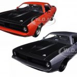 1973 Plymouth Barracuda Grey with Matt Black & Orange with Matt Black 2 Cars Set 1/24 Diecast Model Cars  by Jada