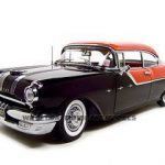 1955 Pontiac Star Chief Hard Top Red/Black Platinum Edition 1/18 Diecast Model Car by Sunstar