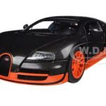 Bugatti Veyron Super Sport Edition Carbon Fiber Black With Orange 1/18 Diecast Car Model by Autoart