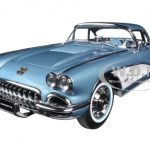 1958 Chevrolet Corvette Silver Blue 1/18 Diecast Model Car by AutoArt