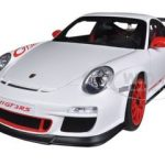 Porsche 911 (997) GT3 RS 3.8 Carrera White With Guards Red Stripes 1/18 Diecast Model Car by Autoart