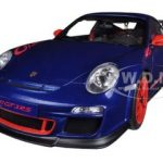 Porsche 911 (997) GT3 RS 3.8 Aqua Blue Metallic With Guards Red Stripes 1/18 Diecast Car Model by Autoart