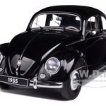 1955 Volkswagen Beetle Kafer Limousine Black 1/18 Diecast Car Model by Autoart