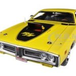 1971 Dodge Charger R/T HEMI 50th Anniversary Banana Yellow with Black Interior Limited to 1250pc Worldwide 1/18 Diecast Model Car by Autoworld