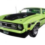 1971 Ford Mustang Mach 1 429 Ram Air Grabber Lime with Green Interior Limited Edition 1/18 Diecast Model Car by Autoworld