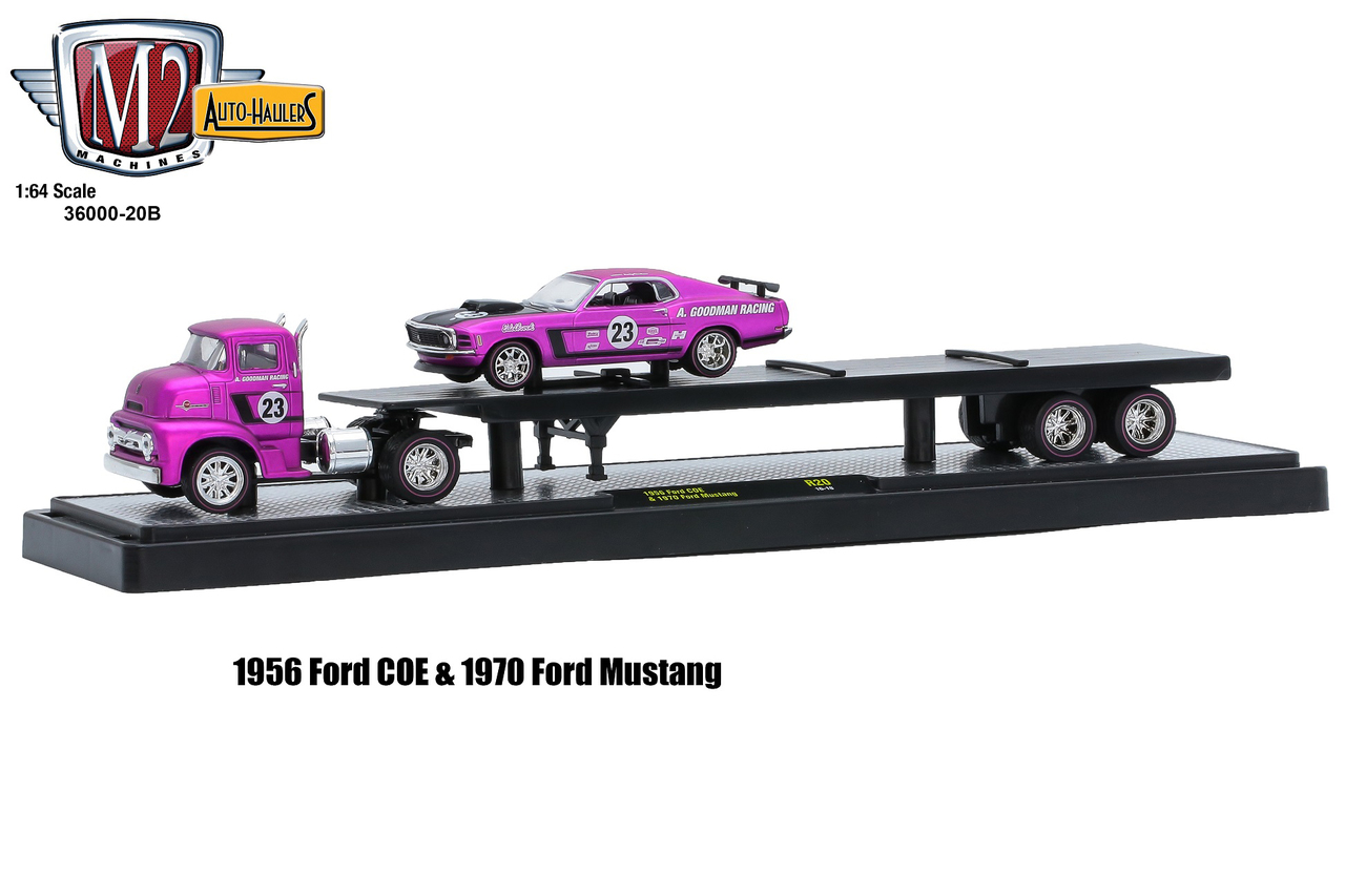 Auto-Haulers_Release_20B_-_1956_Ford_COE_and_1970_Ford_Mustang_-_Satin_Pink_with_Gloss_Black_Stripes_and_Hood_-_Final_Image__44860