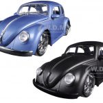 1959 Volkswagen Beetle Matt Blue & Matt Gray 2 Cars Set 1/24 Diecast Model Cars by Jada