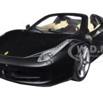 Ferrari 458 Italia Spider Matt Black 1/24 Diecast Car Model by Hotwheels