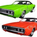 1970 Dodge Charger R/T Orange & Green Set of 2 Cars 1/24 Diecast Model Cars by Jada