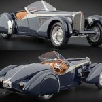 1938 Bugatti 57 SC Corsica Roadster Blue 1/18 Diecast Car Model by CMC