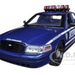 2001 Ford Crown Victoria NYPD Car Blue Auxiliary Interceptor With Lights and Sounds 1/18 Diecast Car Model by Greenlight