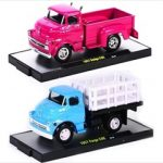 Auto Trucks 1957 Dodge 700 COE Pink & Blue 2 Cars Set Release 21D WITH CASES 1/64 Diecast Model Cars by M2 Machines