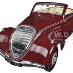 1937 Peugeot Eclipse 402 Dark Red With Retractable Top 1/18 Diecast Car Model by Norev
