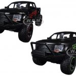 2011 Ford F-150 SVT Raptor Off Road Matt Black/Green & Black/Red 2 Pickup Trucks Set 1/24 Diecast Models by Jada