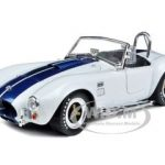 1965 Shelby Cobra 427 S/C White with Blue Stripes 1/18 Diecast Model Car by Shelby Collectibles