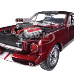 1965 Ford Shelby Mustang GT350R With Racing Engine Metallic Red With Silver Stripes 1/18 Diecast Car Model by Shelby Collectibles
