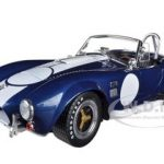 1965 Shelby Cobra 427 S/C Blue With Printed Carroll Shelby Signature 1/18 Diecast Model Car by Shelby Collectibles