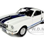 1966 Shelby Mustang GT 350 White with Blue Stripes 1/18 Diecast Car Model by Shelby Collectibles