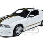 2012 Shelby Mustang GT350 White with Gold Stripes 1/18 Diecast Model Car by Shelby Collectibles