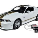 2012 Shelby Mustang GT350 White with Gold Stripes with 1/64 1962 Shelby Cobra 50th Anniversary Edition 1 of 250 Produced Worldwide and Certificate of Authenticity 1/18 by Shelby Collectibles