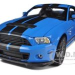 2013 Ford Shelby GT500 SVT Cobra Grabber Blue with Black Stripes 1/18 Diecast Car Model by Shelby Collectibles