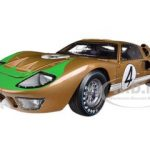 1966 Ford GT-40 MK 2 Gold #4 1/18 Diecast Car Model by Shelby Collectibles