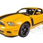 2013 Ford Mustang Boss 302 Yellow 1/18 Diecast Car Model by Shelby Collectibles