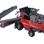 Massey Ferguson 9545 Combine with Fat Singles Grain Head and Corn Head 1/64 Diecast Model by Speccast