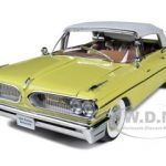 1959 Pontiac Bonneville Closed Convertible White / Palomar Yellow 1/18 Diecast Model Car by Sunstar