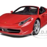 Ferrari 458 Italia Spider Red Elite Edition 1/18 Diecast Car Model by Hotwheels