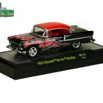 Wild Cards 1955 Chevrolet Bel Air Hardtop Candy Orange/Black Set of 2 WITH CASES 1/64 Diecast Model Cars by M2 Machines