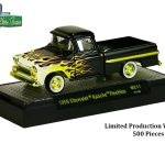 Wild Cards 1958 GMC Suburban Carrier Pickup Truck and 1959 Chevrolet Apache Fleetline Pickup Truck Set of 2 WITH CASES 1/64 Diecast Models by M2 Machines